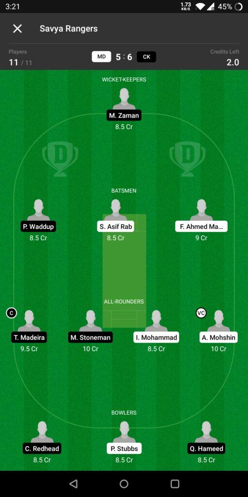 Head to Head Dream11 Team Prediction MD vs CK