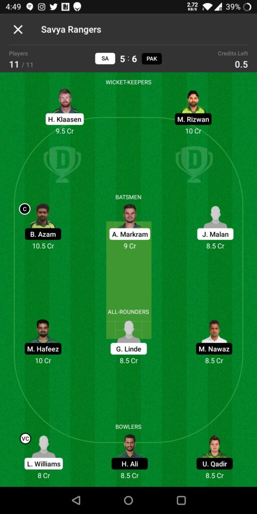 Grand League Team For Pakistan vs South Africa